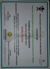 Aasha's chess tournament certificate