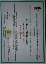 Aasha's chess tournament certificate