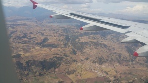 the view from the flight landing in cusco