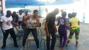 playing musical Chairs with our team and the team Dr. Brown...its was so funny how serious it got...I was out in no time..